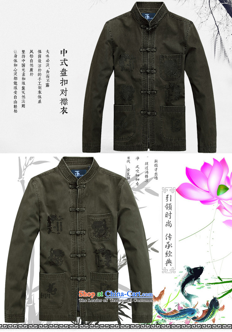 - Wolf JIEYA-WOLF, New Tang dynasty men's Pure cotton T-shirt, autumn and winter jackets stylish casual Chinese tunic national costumes Army Green聽170/M picture, prices, brand platters! The elections are supplied in the national character of distribution, so action, buy now enjoy more preferential! As soon as possible.