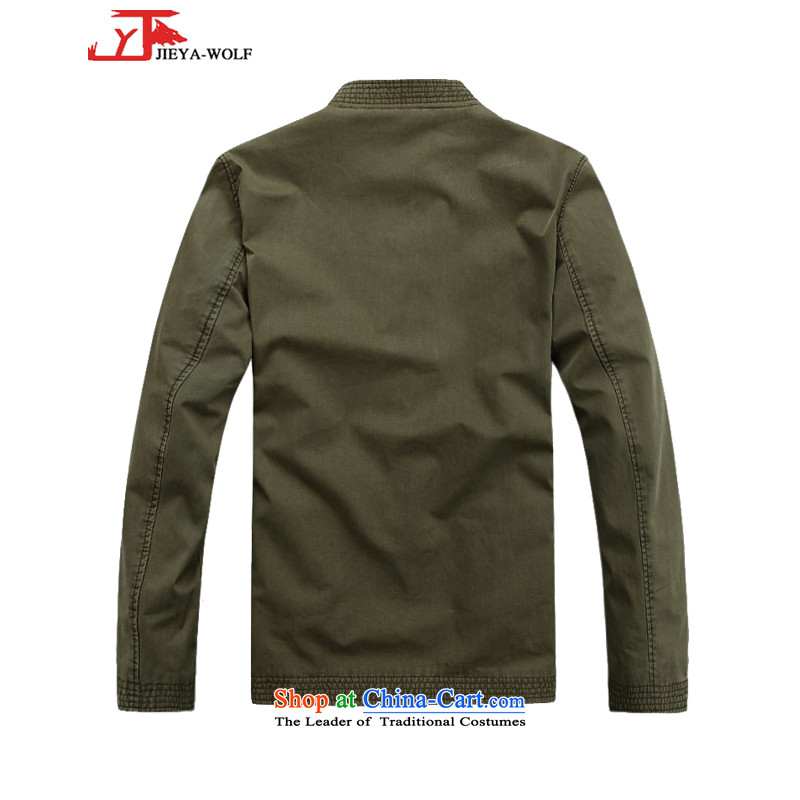 - Wolf JIEYA-WOLF, New Tang dynasty men's Pure cotton T-shirt, autumn and winter jackets stylish casual Chinese tunic national costumes Army Green聽170/M,JIEYA-WOLF,,, shopping on the Internet