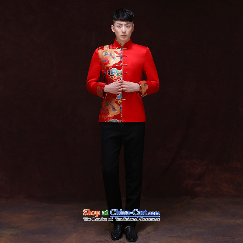 Tsai Hsin-soo Wo Service dream men married to groom load Chinese men Tang Dynasty Sau Wo Service collar costume hi-marriage bows Dress Shirt a?M
