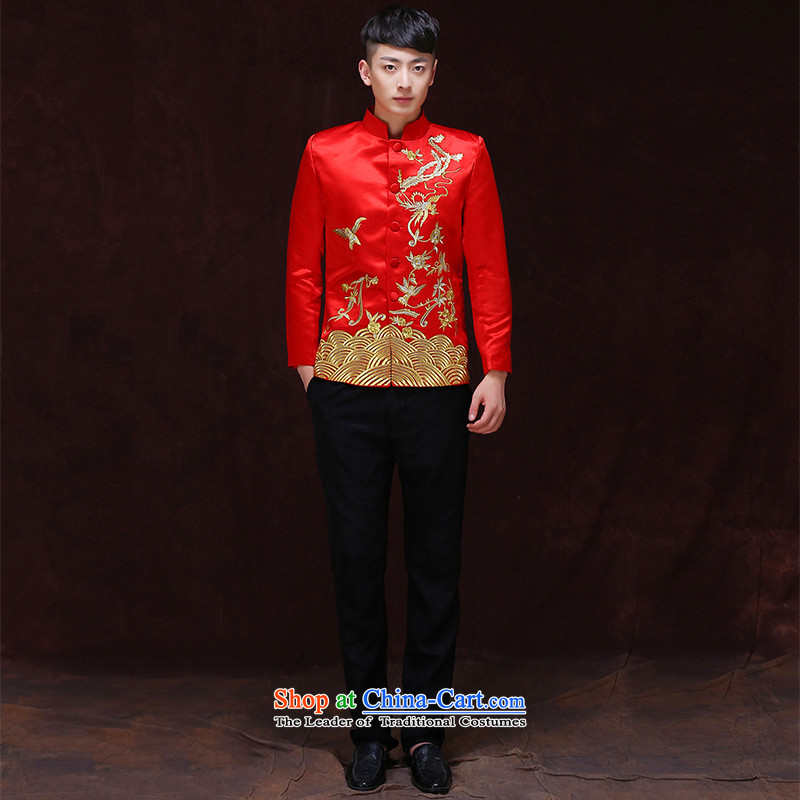 Tsai Hsin-soo wo service of men's Chinese wedding costume Sau Wo Service service men's wedding dress red groom services-style robes Tang blouses A?S
