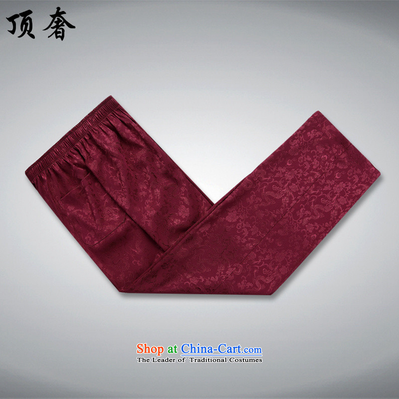 Top Luxury men Tang Dynasty Package Version loose collar China wind Han-soo dress in the older Tang Dynasty Package Boxed grandfather load father BOURDEAUX聽170/M, kit top luxury shopping on the Internet has been pressed.