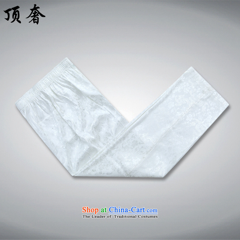 Top Luxury China wind long-sleeved men Tang Dynasty Package Chinese Disc Port Tang dynasty male summer load national dress for father shou dress jacket coat聽2562, White Kit聽190/XXXL, top luxury shopping on the Internet has been pressed.