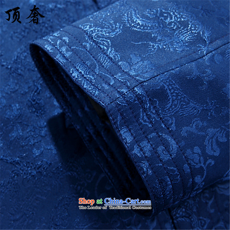 Top Luxury spring and autumn, Tang dynasty men loose version collar China wind Han-soo dress in the Tang dynasty older boys father replacing replacing men's grandfather聽185/XXL, blue shirt top luxury shopping on the Internet has been pressed.