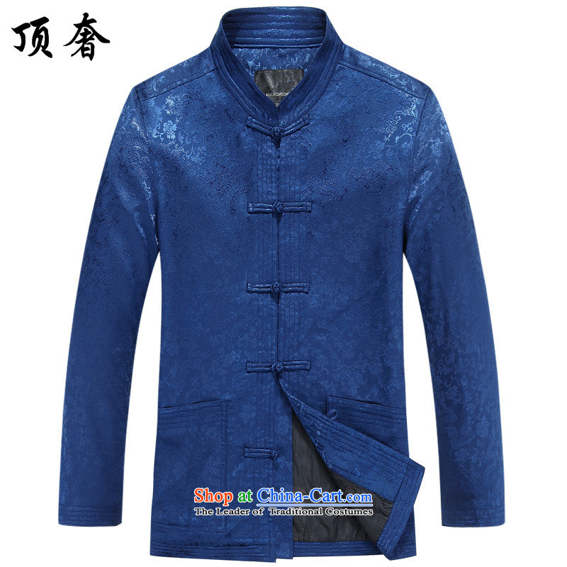 Top Luxury men Tang dynasty during the spring and autumn of the middle-aged men's long-sleeved jacket coat Chinese men father replace national China Wind Jacket dress Blue snap disc loose version of Han-blue shirt 190_XXXL