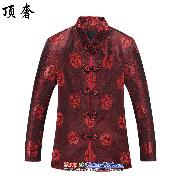Top luxury in the number of older couples Tang dynasty summer grandpa replacing men's national costumes China wind up older persons detained birthday Tang dynasty long-sleeved shirt, 8806 red T-shirt 170/M Women Men