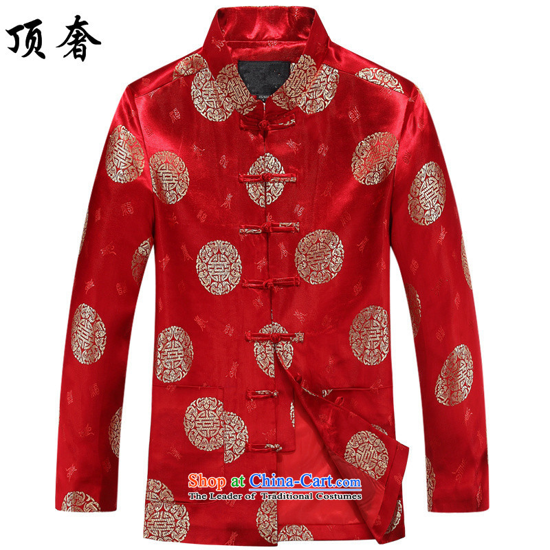 Top Luxury of older women and men's autumn Tang dynasty Long-sleeve elderly couples Tang jackets golden marriage celebrated the birthday dress loose coat 8016 edition men red T-shirt?180/XL men