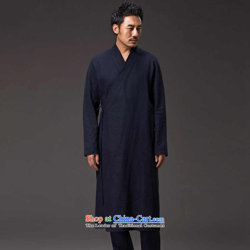 Renowned China wind men Long Hoodie cotton linen buckled tea service Tang dynasty long-sleeved improved Han-spiritual services need to come to grips loose ball-T-shirt and dark blue?2XL_180