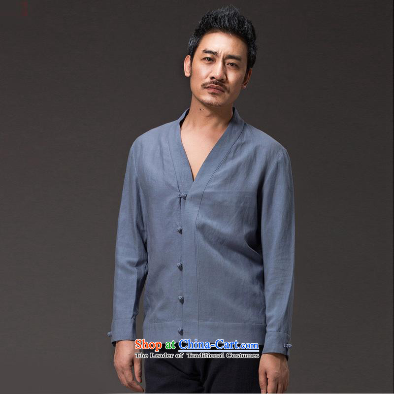 Renowned China wind men ball-Tang dynasty spring service men and long-sleeved Tencel Ma Han-meditation services in 2,005 Chinese jacket _L_