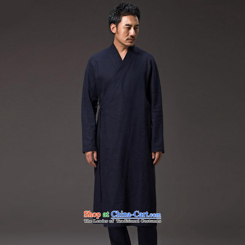Renowned China wind men Long Hoodie cotton linen buckled tea service Tang dynasty long-sleeved improved Han-spiritual ball loose clothing costumes and deep blue shirt costume?XL