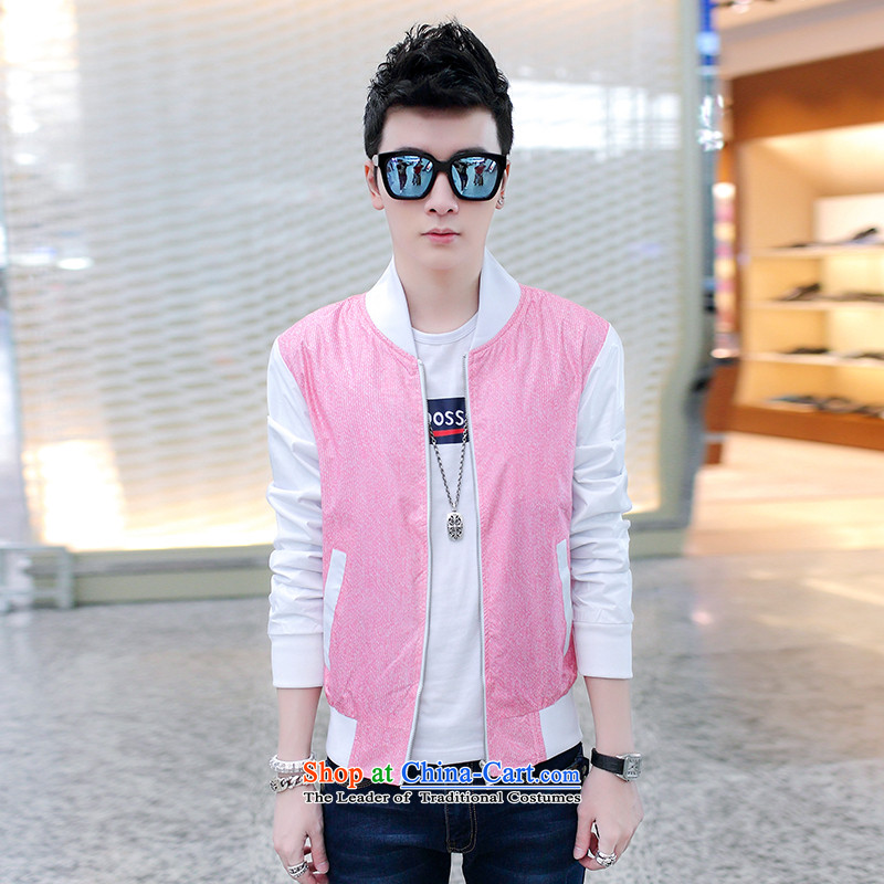 Dan Jie Shi 2015 Autumn jacket male Korean Sau San Cardigan baseball for men and boys baseball service flows jacket RED聽M