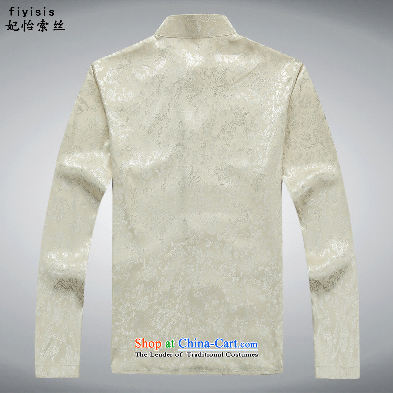 Princess Selina Chow (fiyisis) Men Tang Dynasty Package in the spring and autumn long-sleeved older short-sleeved T-shirt Han-China wind collar disc detained men's father boxed packaged 170/M, beige Princess Selina Chow (fiyisis) , , , shopping on the Int