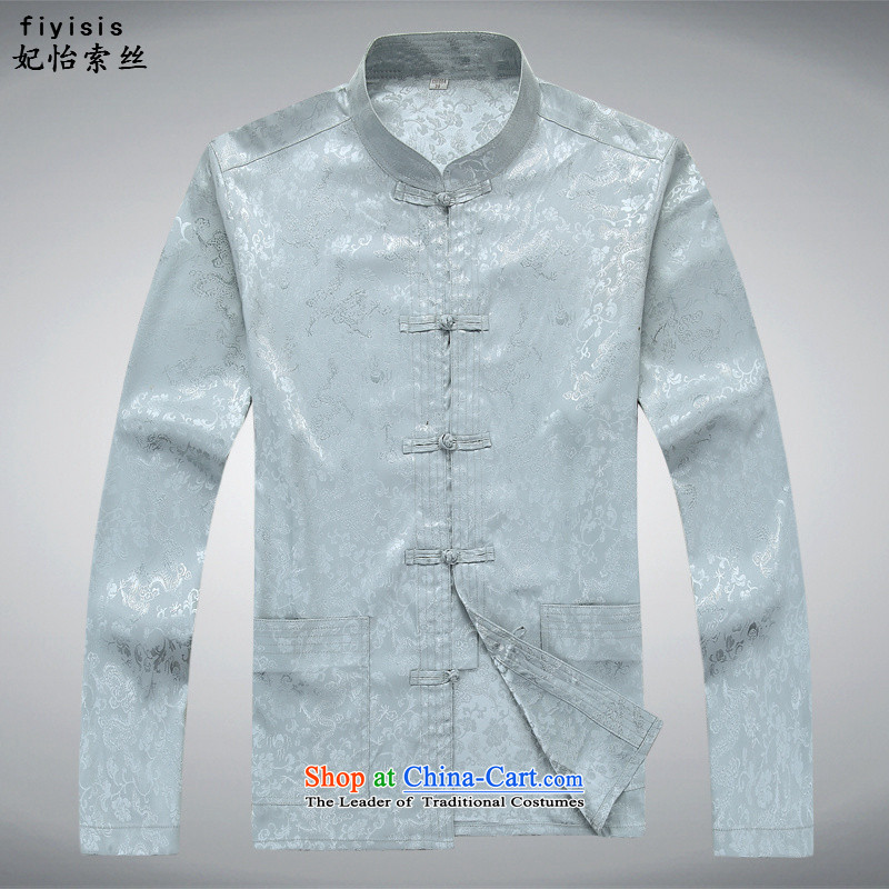 Princess Selina Chow _fiyisis_ China wind long-sleeved men Tang Dynasty Package Chinese Disc Port Tang dynasty male summer load father national costume Long-sleeve shirt and gray聽180_XL kit