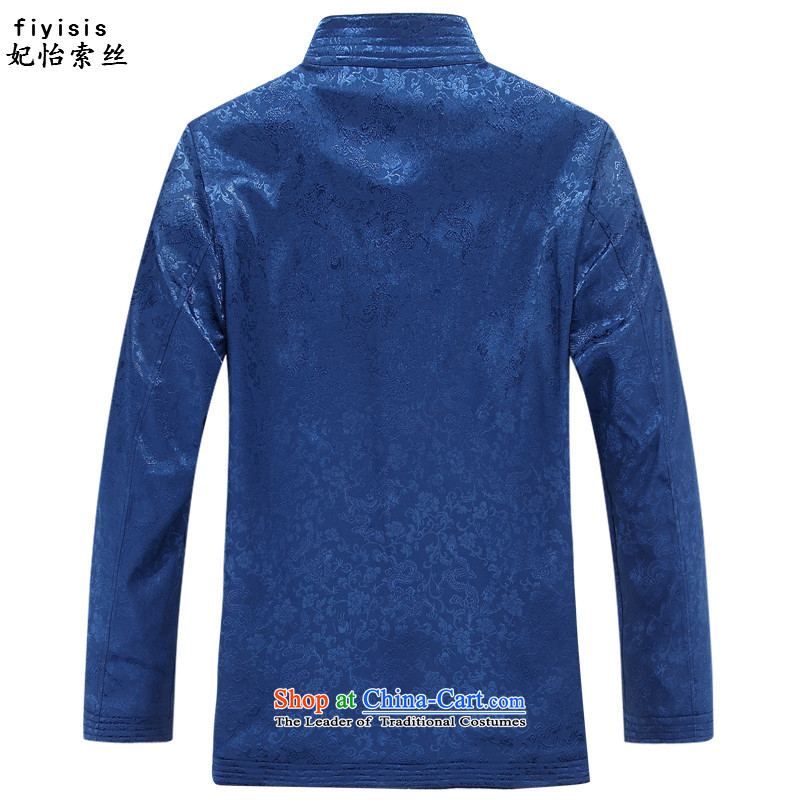 Princess Selina Chow (fiyisis) of older persons in the autumn replacing Tang dynasty couples men long-sleeved birthday too Shou Chinese Dress golden marriage elderly jacket blue T-shirt 170/M, Princess Selina Chow (fiyisis) , , , shopping on the Internet