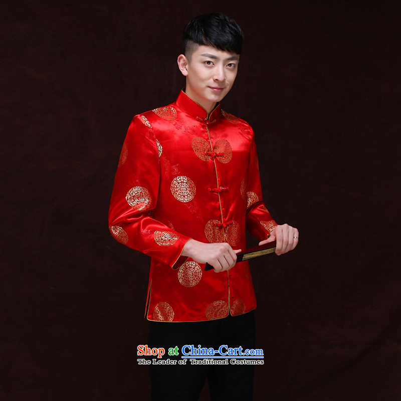 Tsai Hsin-soo wo service of men's new Chinese style wedding married men and Tang dynasty red Sau Wo serving Chinese tunic national costumes of the bridegroom bows dress Chinese bridegroom blouses A聽L, Miss CHOY dream Qi , , , shopping on the Internet