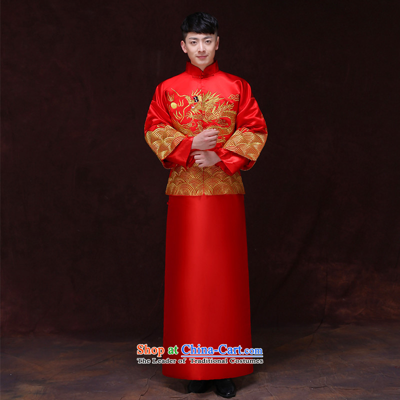 Tsai Hsin-soo wo service of men's Chinese wedding costume Sau Wo Service service men's wedding dress red groom services-style robes Chinese clothing a?M