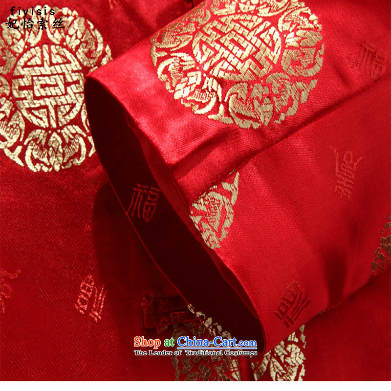 Princess Selina Chow (fiyisis autumn men Tang long-sleeved shirt with large numbers of older persons in the Tang dynasty couples mom and dad golden marriage celebrated the birthday of the Tang dynasty male red t-shirt 170/M, Princess Selina Chow (fiyisis)
