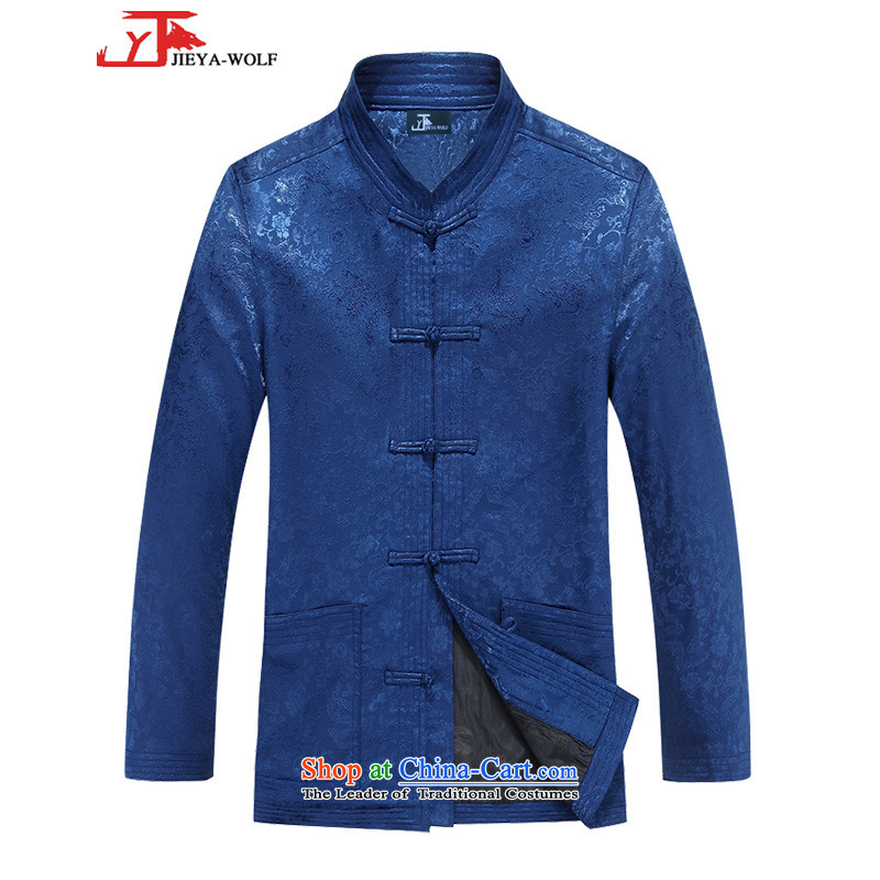 The wolf JIEYA-WOLF, new autumn and winter Tang Dynasty Men's Shirt national fashionable clothing jacket Version Chinese tunic leisure tai chi, BLUE 170/M