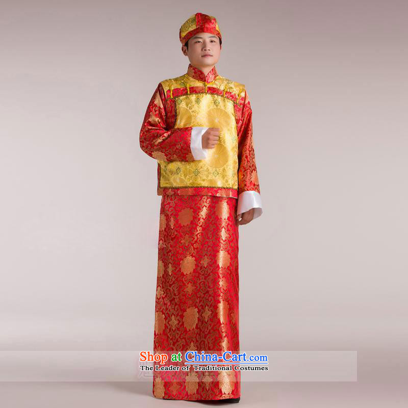 The Syrian Arab Republic of Bosnia and clothing time costume landowners to replace the Qing emperor load Huan Shao Ye Zhan replacing Bailey Shing Yeh costumes will show reel service men red yellow vest adult 160-175CM)