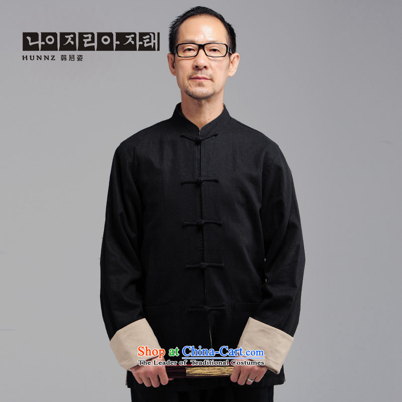 ?The elderly in the new HANNIZI men natural cotton linen long-sleeved Tang dynasty China wind Mock-Neck Shirt black jacket detained disc?XXL