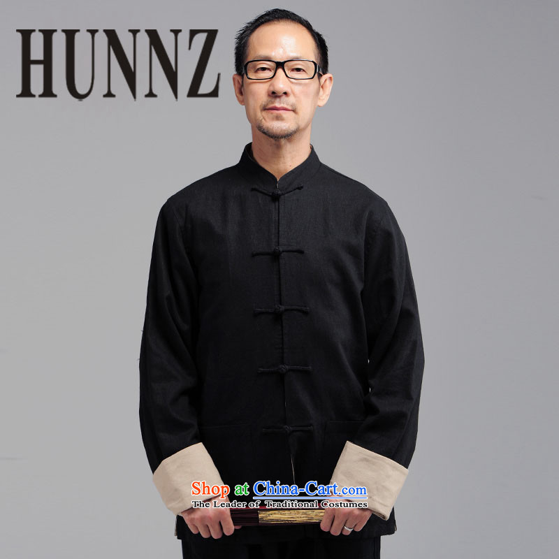 The elderly in the new HUNNZ men natural cotton linen long-sleeved Tang dynasty China wind Mock-Neck Shirt black jacket detained disc聽XXXL
