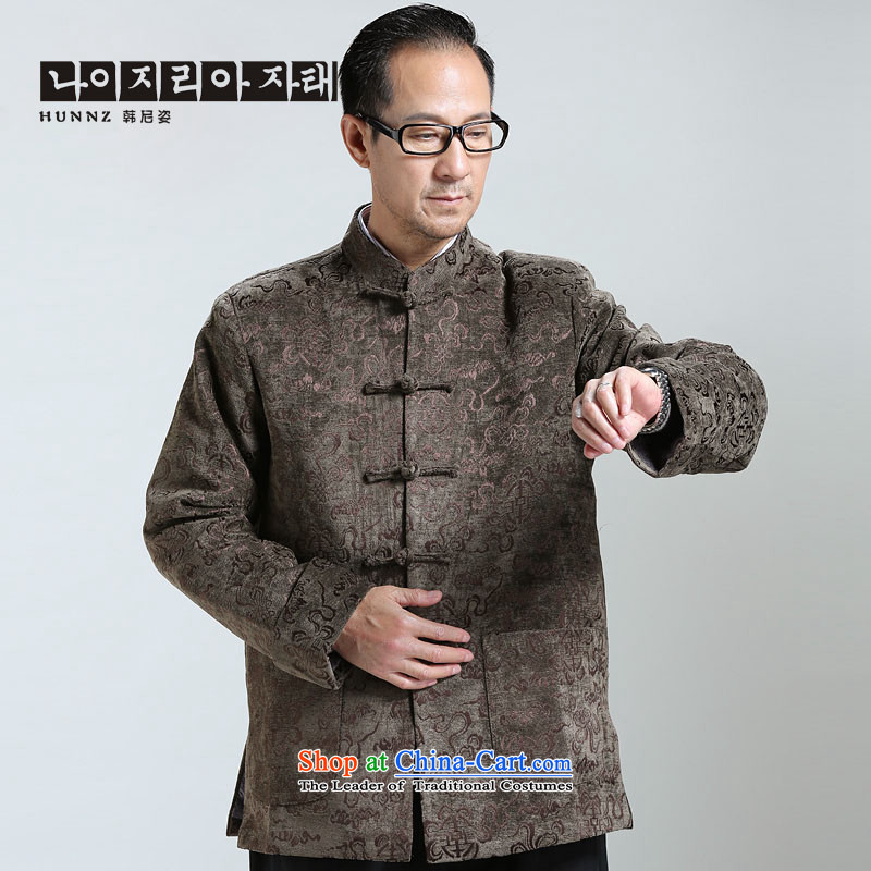 New HANNIZI2015 men Classical China wind Tang long-sleeve sweater in older Chinese men brown jacket燲XXXL