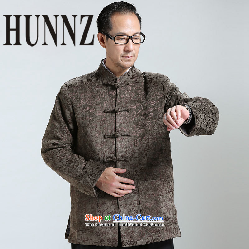 New HUNNZ2015 men Classical China wind Tang long-sleeve sweater in older Chinese men brown jacket?XXXXL