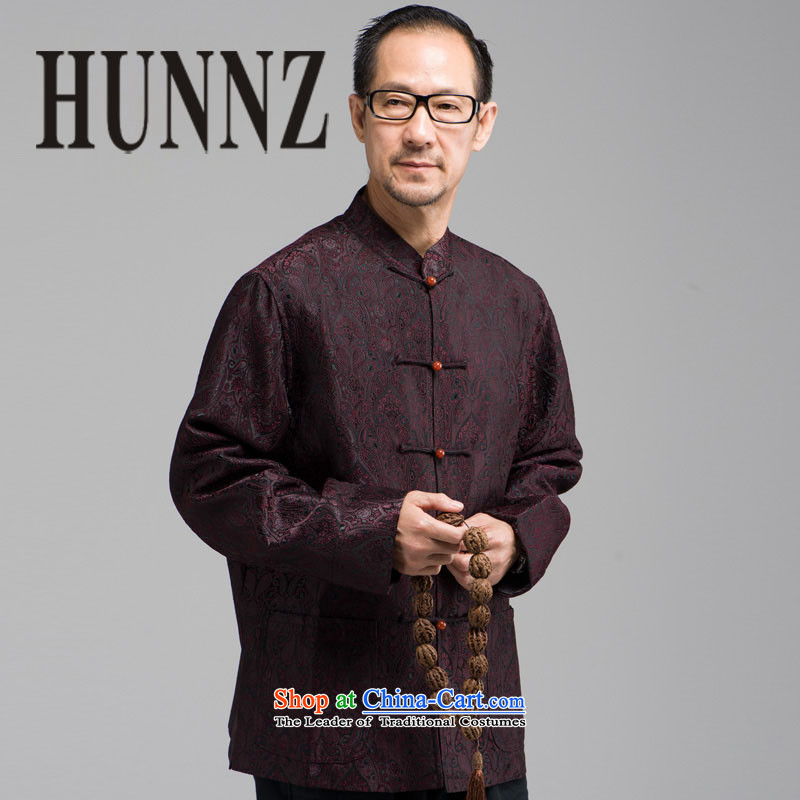 New Classic embroidery HUNNZ Tang Dynasty Chinese elderly in men's long-sleeved jacket, served a mock-neck disc buttoned, deep red?XXXL