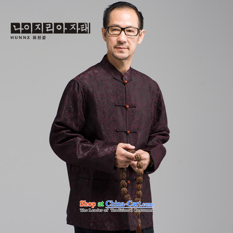 New Classic embroidery HANNIZI Tang Dynasty Chinese elderly in men's long-sleeved jacket, served a mock-neck disc buttoned, dark red?L
