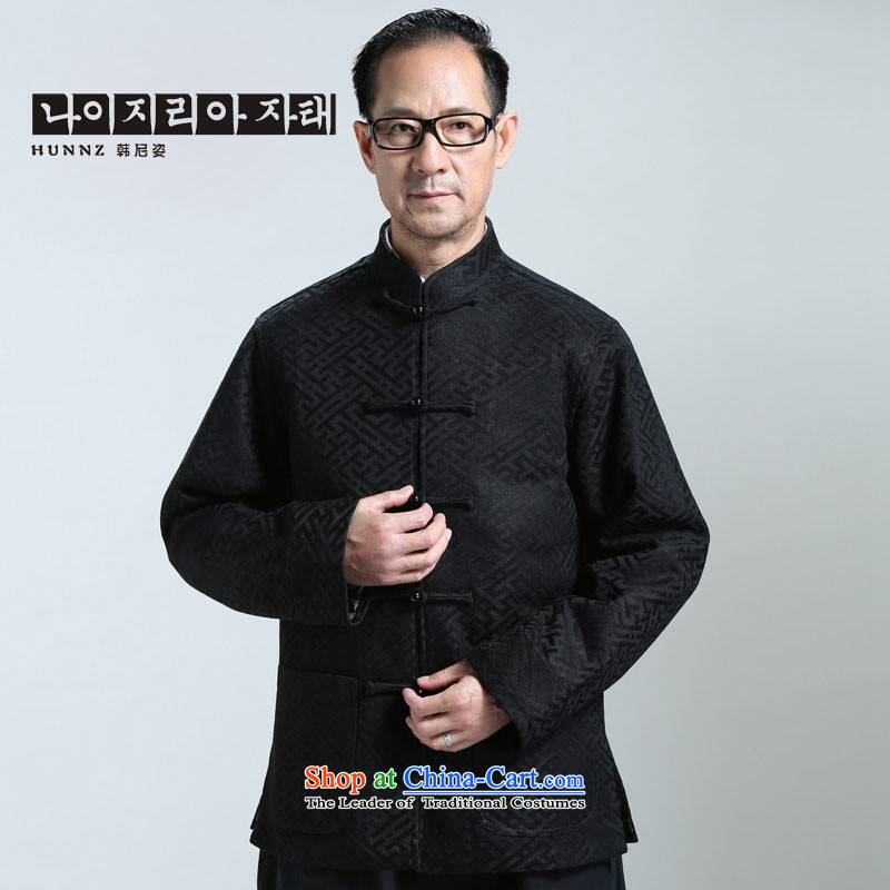 ?The elderly in the new HANNIZI men l tray clip Tang China Wind Jacket Han-T-shirt cardigan black?XXL