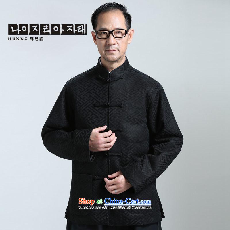 聽The elderly in the new HANNIZI men l tray clip Tang China Wind Jacket Han-t-shirt cardigan聽XXL, Black, Gigi Lai (hannizi won) , , , shopping on the Internet