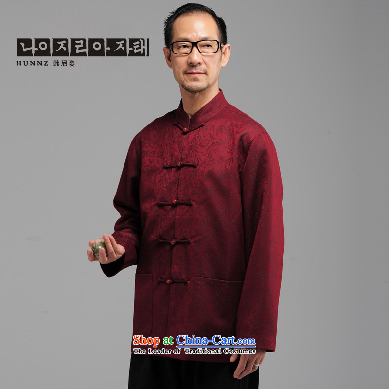 In older men HANNIZI long-sleeved tray clip collar Tang dynasty China wind loading stage father too dark red XXXXL load life