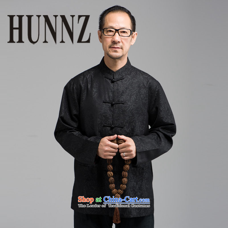 In older men HUNNZ long-sleeved tray clip collar Tang dynasty China wind loading stage father too black?XXXL Shou