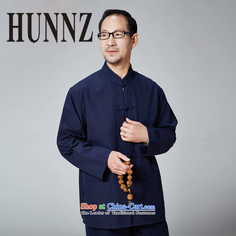 Hunnz New China wind Tang dynasty Classic Old folk weave tray clip collar long-sleeved jacket Dad Pure Color Blue?180