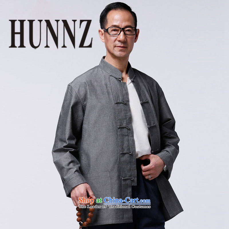 Tang Dynasty HUNNZ natural cotton linen collar snap-long-sleeved Chinese father Father replacing the solid color gray jacket leisure?170