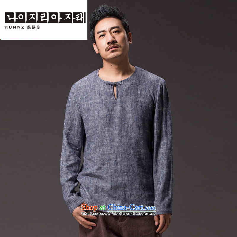 New Natural Linen HANNIZI men Tang dynasty Classic elegance of ethnic minimalist solid color gray long-sleeved shirt?L