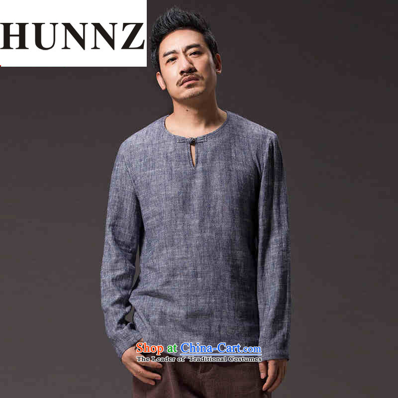 New Natural Linen HUNNZ men Tang dynasty Classic elegance of ethnic minimalist solid color gray long-sleeved shirt XXL