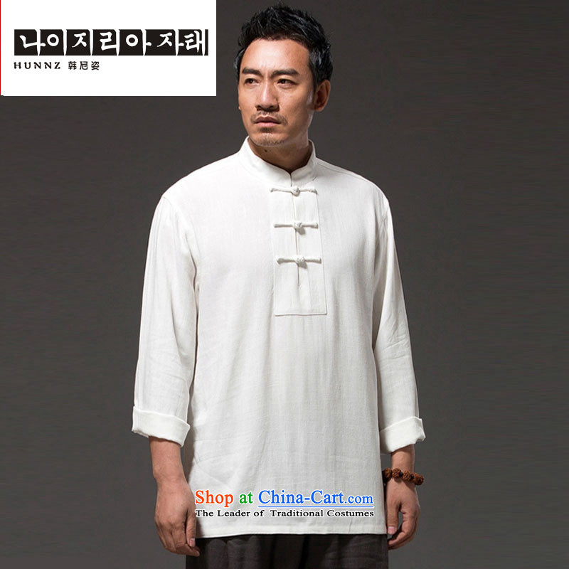New Natural Linen HANNIZI2015 pure color leisure Tang dynasty China wind classical Chinese Kung Fu shirt Tang dynasty white?L