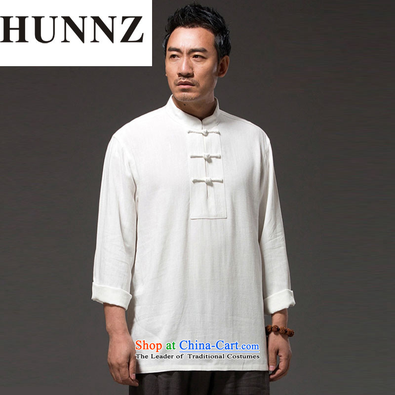 New Natural Linen HUNNZ2015 pure color leisure Tang dynasty China wind classical Chinese Kung Fu Tang dynasty white shirt XXXXL
