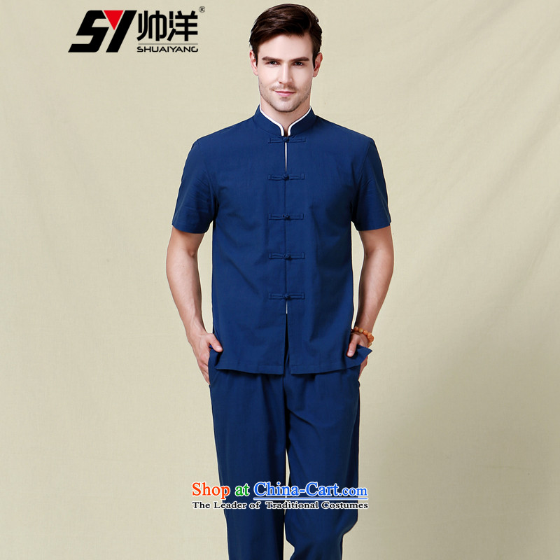 Shuai 2015 men ocean Tang Dynasty Package Chinese collar tray clip clothing China wind national costumes short-sleeve with trousers navy blue _short sleeves and long pants 165_S_