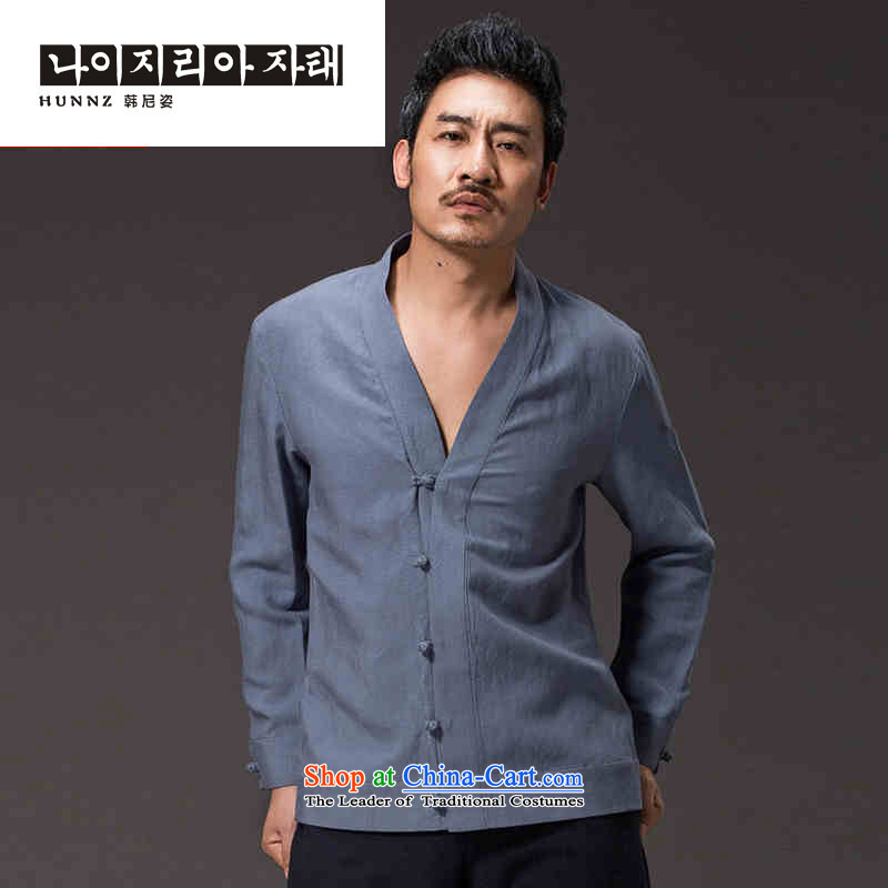 Hannizi New China wind men ball-Tang dynasty Classic service long-sleeved solid color cotton linen Han-kung fu services jacket blue聽XL