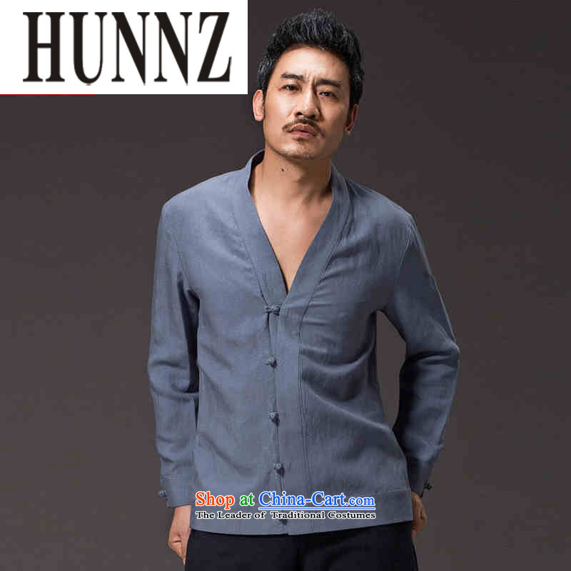 Hunnz New China wind men ball-Tang dynasty Classic service long-sleeved solid color cotton linen Han-kung fu-jacket blue L