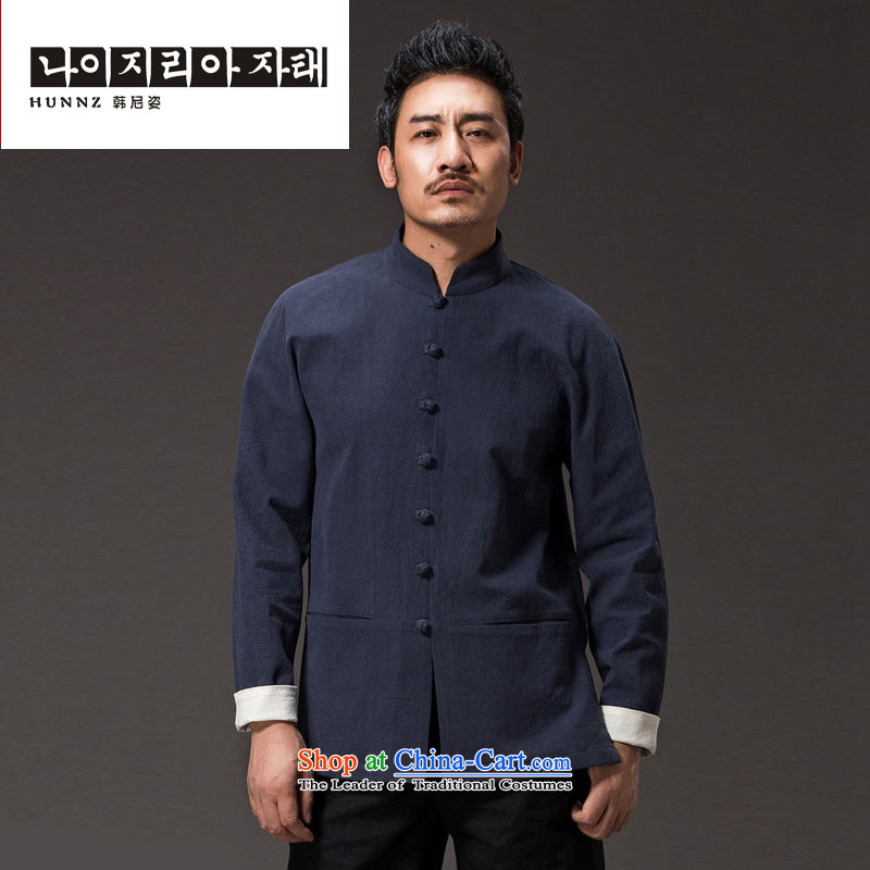Hannizi New Pure color natural cotton linen leisure long-sleeved shirt classic kung fu men of the Zen master services wind men Tang dynasty dark blue聽XXL