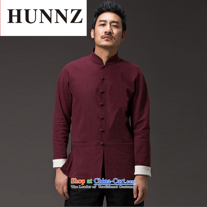 Hunnz New Pure color natural cotton linen leisure long-sleeved shirt classic kung fu men of the Zen master services wind men Tang dynasty deep red XL