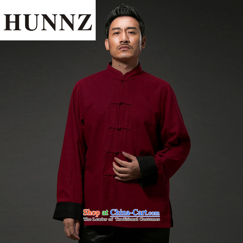China wind retro HUNNZ Tang dynasty Classic Sau San stylish and simple collar disc detained men wear clothing duplex deep red�XXL