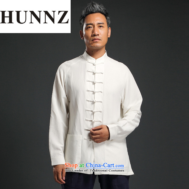 Natural Linen pure colors HUNNZ leisure relaxd long-sleeved China wind men Tang tray detained Men's Mock-Neck Han-White燲L