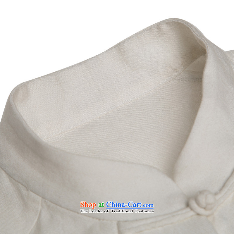 Natural Linen pure colors HUNNZ leisure relaxd long-sleeved China wind men Tang tray detained Men's Mock-Neck Han-white XL,HUNNZ,,, shopping on the Internet
