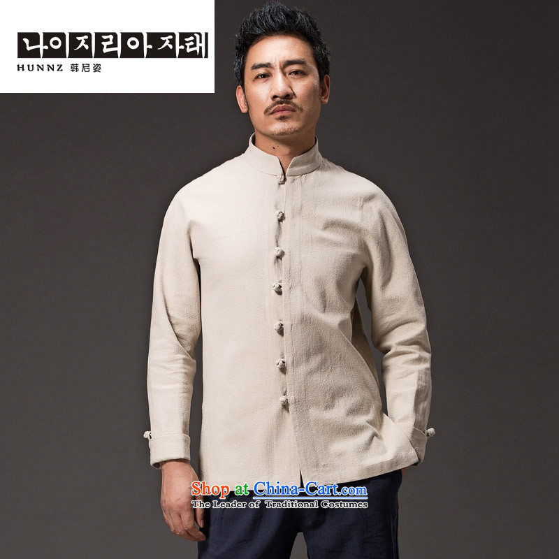 Hannizi cotton linen Chinese Han-China wind national costumes and Tang dynasty minimalist collar disc deduction Sau San long-sleeved white?L