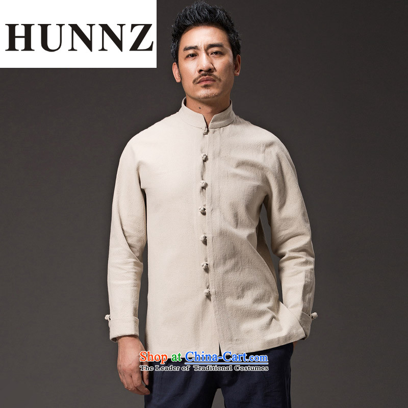 Hunnz cotton linen Chinese Han-China wind national costumes and Tang dynasty minimalist collar disc deduction Sau San long sleeved shirt with White燲XL