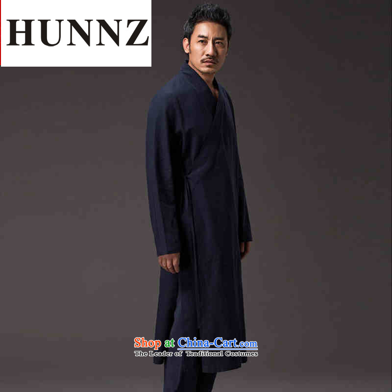 Hunnz China wind natural cotton linen Zen master service Tang dynasty Classic Han-Loose ball-wise services services practice deep blue聽XXL