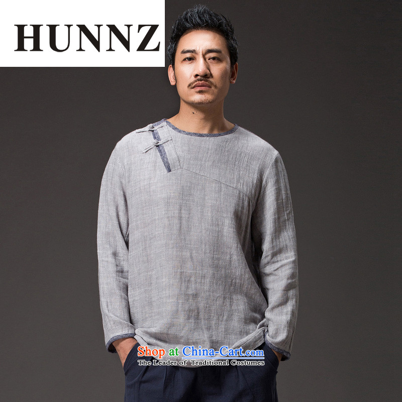 Hunnz China wind cotton linen tea service Tang dynasty long-sleeved improved Han-spiritual services need to come to grips loose ball-T-shirt and light gray XXXL